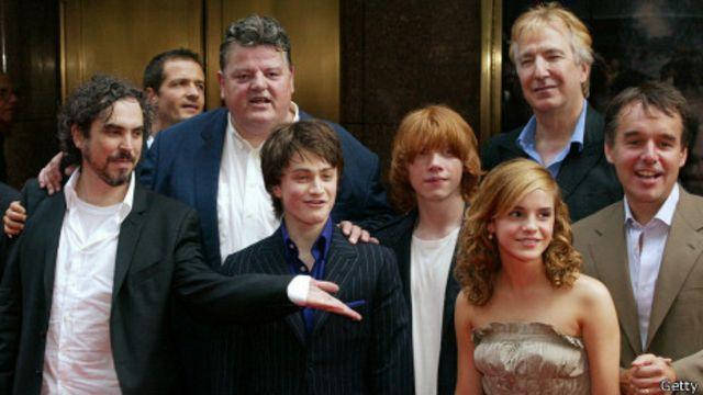 Cuarón y el elenco de Harry Potter