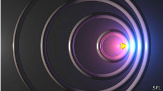 Ilustración mostrando el efecto Doppler, el aparente cambio en la frecuencia de sonido emitido por un objeto en movimiento