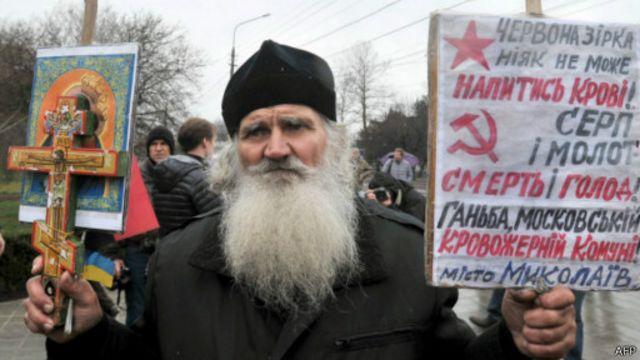 """Для некоторых верующих военные действия России поставили под сомнение идею <br>""""Русского мира"""", которую пропагандирует патриарх Кирилл"""