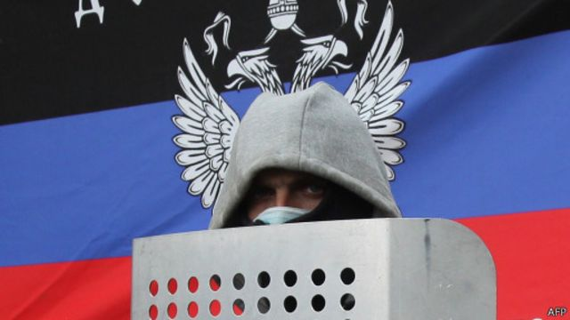 Участник протестов в Донецке