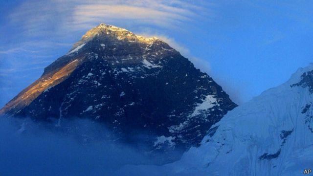 Вид на вершину Эвереста с базового лагеря