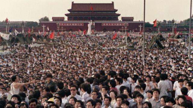 天安门广场上的89民运学生
