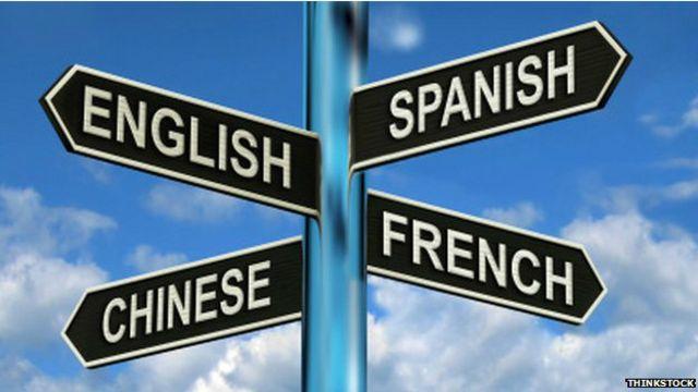 Указатель с названием языков на английском