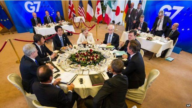 Các lãnh đạo nhóm G7 trong hội nghị ngày 4/6