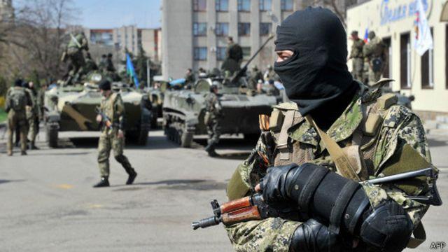Про-российский боевик в Донбассе