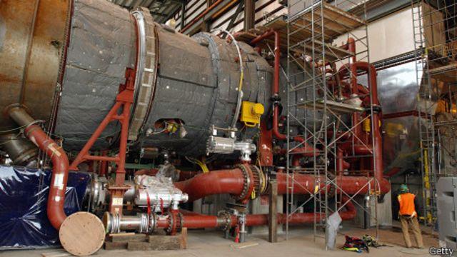 Turbina de gas de Mitsubishi en una planta de gas en Oregón, EE.UU.