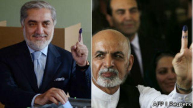 در این انتخابات عبدالله عبدالله (چپ) و اشرف غنی احمدزی با هم رقابت کردند