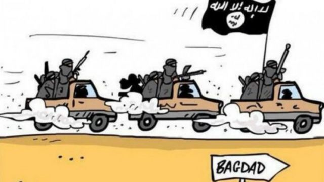 نشر هذا الكاريكاتير على الحساب ISIS_Media_Hub@ على تويتر