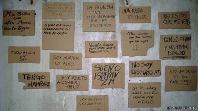 Cartazes feitos por moradores sem-teto (Homelessfonts)