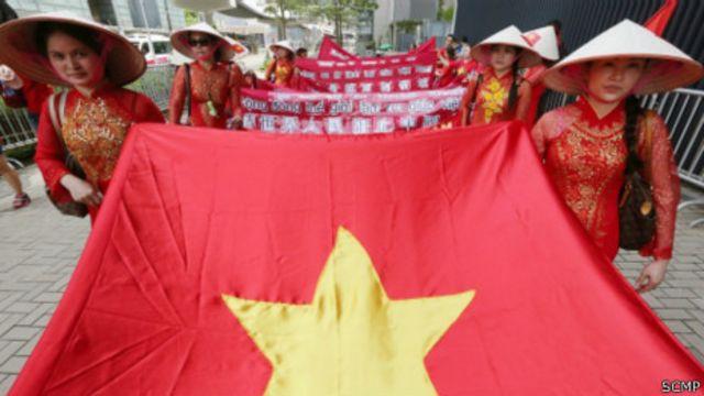 Cuộc biểu tình diễn ra hôm Chủ nhật 6/7 (ảnh của Bưu điện Hoa Nam Buổi sáng)
