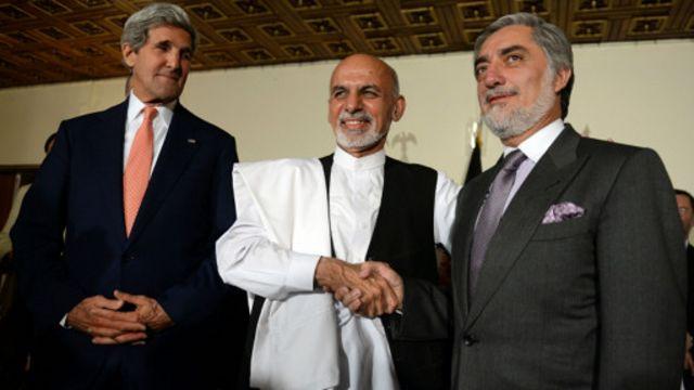 John Kerry,Ashraf Ghani na Abdullah Abdulla