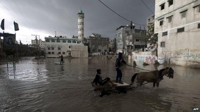 Enchente em Gaza (AFP)