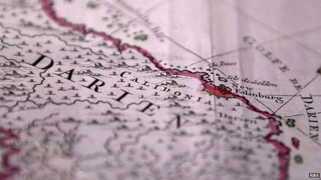Un viejo mapa con la ubicación de la fallida colonia escocesa.