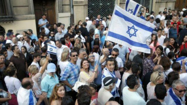 مؤيدو إسرائيل تظاهرو في مدينة مرسيليا جنوب فرنسا.