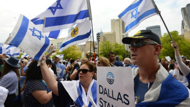 مؤيديون لإسرائيل خرجوا في ولاية دلاس الأمريكية.