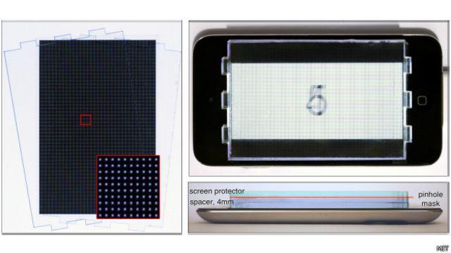 Protótipo de tela que permite corrigir problemas de visão. Credito: MIT Media Lab
