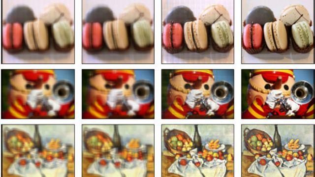 Simulação mostra como tela poderia corrigir imagem para quem tem problemas de vista. Crédito: MIt Media Lab