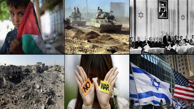 Montaje fotográfico sobre el conflicto palestino-israelí