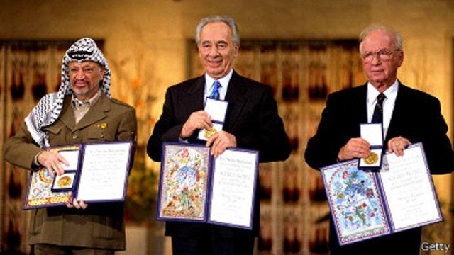 Yitzak Rabin, Shimon Peres y Yaser Arafat