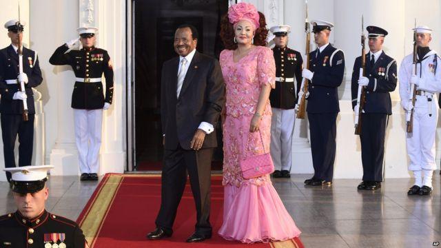 Shugaban kasar Kamaru Paul Biya da matarsa Chantal na cikin bakin shugaba Obama.