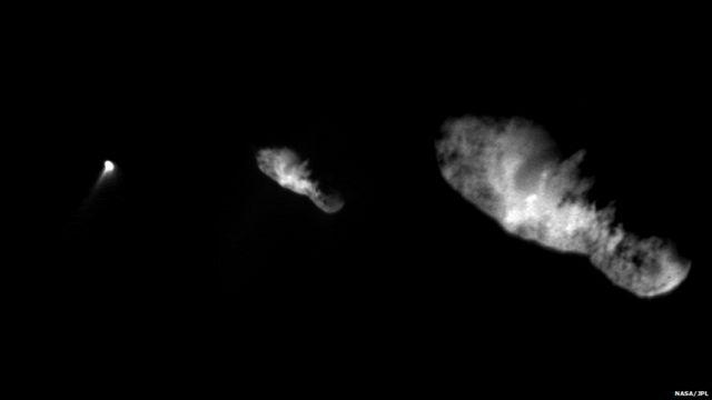 ၂၀၀၁ ခုနှစ်မှာ Deep Space 1 အာကာသယာဉ်က ရိုက်ယူနိုင်ခဲ့တဲ့ 19P / Borrelly ကြယ်တခွန်ရဲ့ ပုံရိပ်အချို့။ အနီးဆုံး ပုံရိပ်ဖြစ်တဲ့ ညာအစွန်က ပုံကို ကီလိုမီတာ ၃၀၀၀ အကွာကနေ ရိုက်ယူခဲ့။