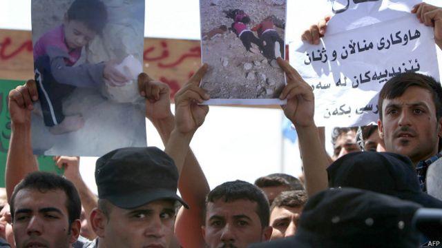 Protesta de yazidíes en la ciudad de Erbil, en el Kurdistán iraquí