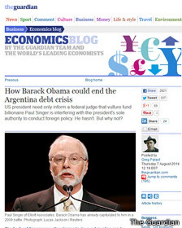 Según un artículo de opinión publicado en The Guardian, Obama puede parar al juez Griesa.