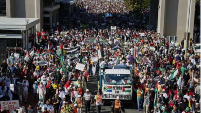 غزہ پر اسرائیلی جارحیت کے خلاف پوری دنیا میں مظاہرے ہوئے تھے۔