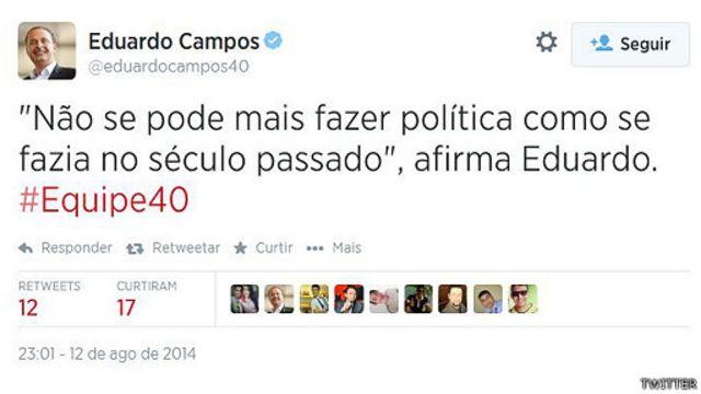 Tweet de Eduardo Campos (Reprodução)