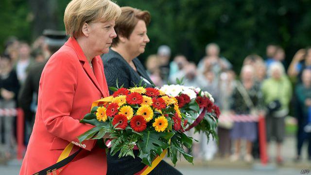 Ангела Меркель в ходе визита в Ригу