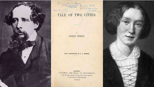 19世紀英國文壇巨匠狄更斯很欣賞同時期女作家艾略特(右)作品中的「女性筆觸」。