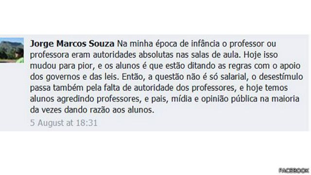 Em comentário enviado via Facebook, Jorge Marcos Souza foi um dos internautas que destacou o problema