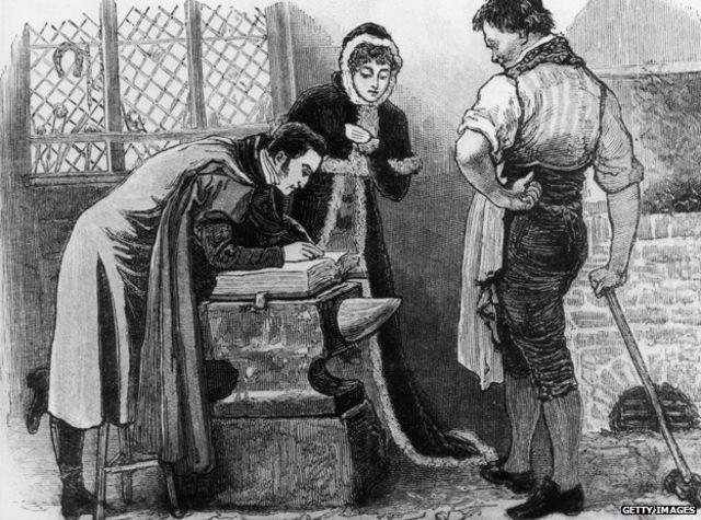 图片显示大约1850年一对私奔情侣在格雷特纳•格林的铁匠铺结婚