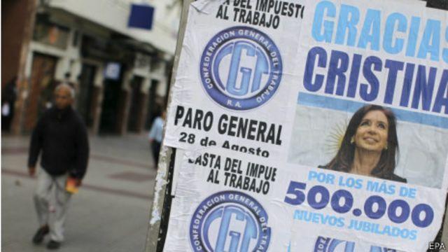 Cartel contra el gobierno de Fernández