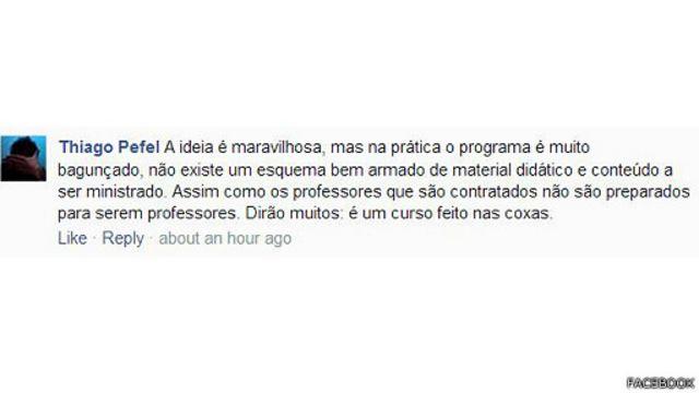 ...como também fortes críticas, feito essa, feita por Thiago Pefel