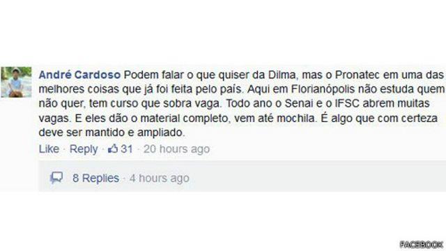 O Pronatec rende tanto apoios veementes ,como o de André Cardoso, que postou esse comentário no Facebook..