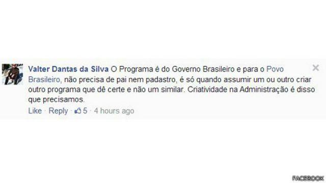 Pelo Facebook, Valter Dantas da Silvia disse que a paternidade do projeto não é algo fundamental