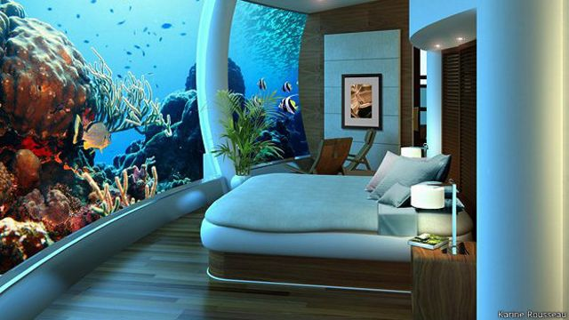Diseño arquitectónico de dormitorio bajo el agua