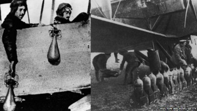 En 1914 las bombas se lanzaban a mano, pero en 1918 ambos bandos tenían bombarderos especiales.