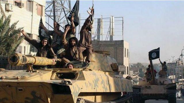 استولى مقاتلو التنظيم على مساحات كبيرة في سوريا والعراق، وفي هذه الصورة يحتفلون بسيطرتهم على بلدة الرقة السورية.