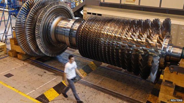 """General Electric, que produce turbinas de gas como ésta, cree firmemente en la """"innovación abierta""""."""