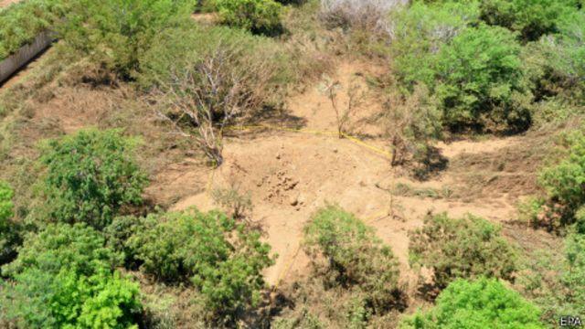 Área supuetamente impactada por el meteorito