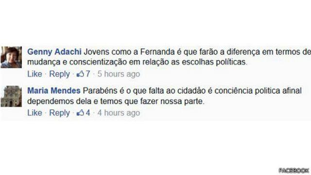 A conduta de Fernanda rendeu elogios no nosso Facebook
