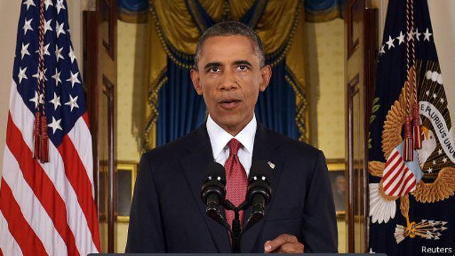 الرئيس الأمريكي باراك أوباما أثناء خطاب في البيت الأبيض
