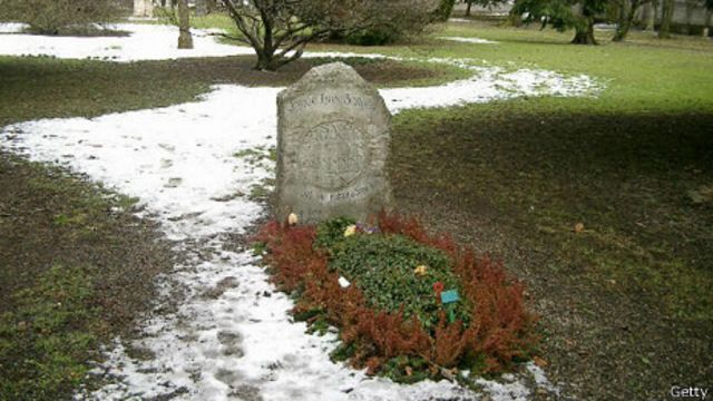 La tumba de Borges en Ginebra, Suiza
