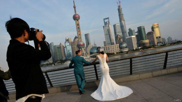 Pareja recién casada en China.