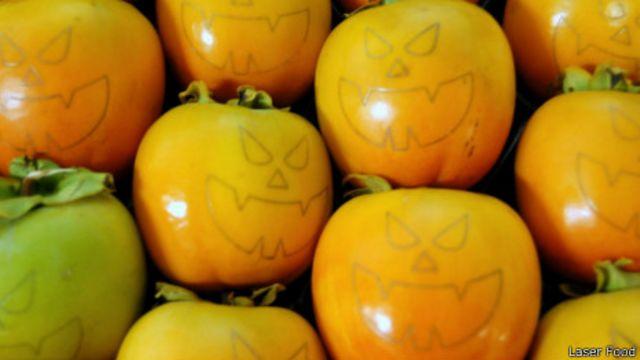 Frutas marcadas con láser.