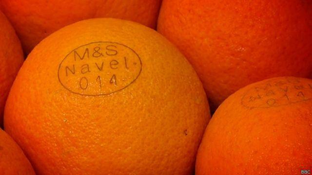 Naranjas marcadas con láser