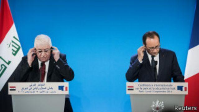 Fuad Massum, presidente de Irak, junto a su par francés, Francois Hollande