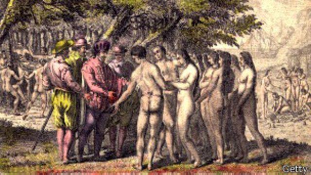 Pintura en el Archivo Hulton que muestra a Hernán Cortés dialogando con nativos de Mesoamérica.